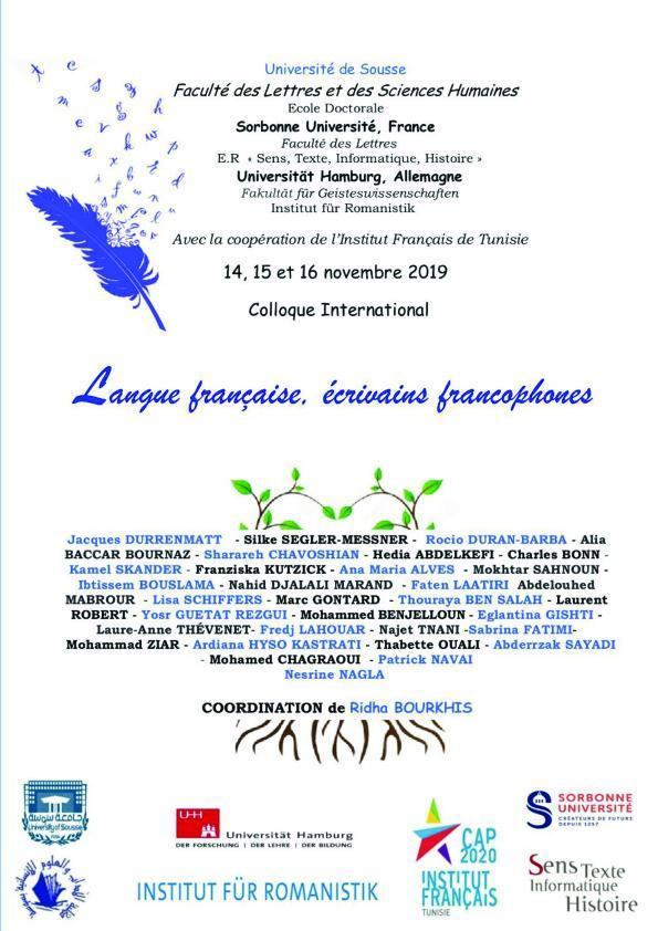 Colloque International  Langue française, écrivains francophones